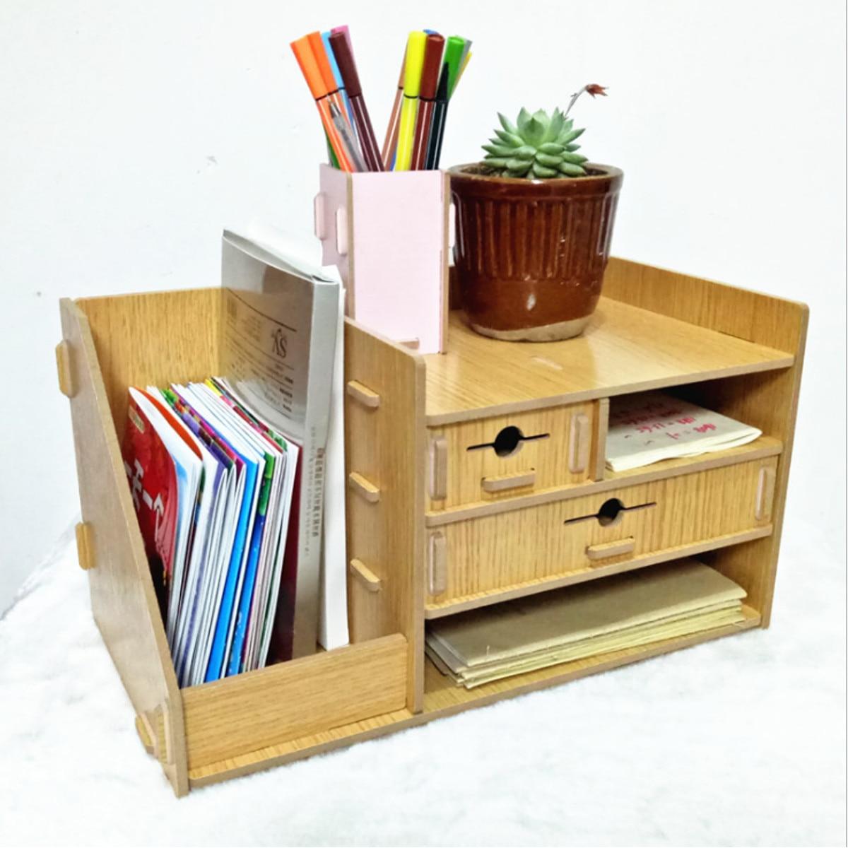 Boîte de rangement en bois bricolage avec tiroir cosmétiques organisateur bureau à domicile bureau tiroir maquillage organisateur nouveau - 6