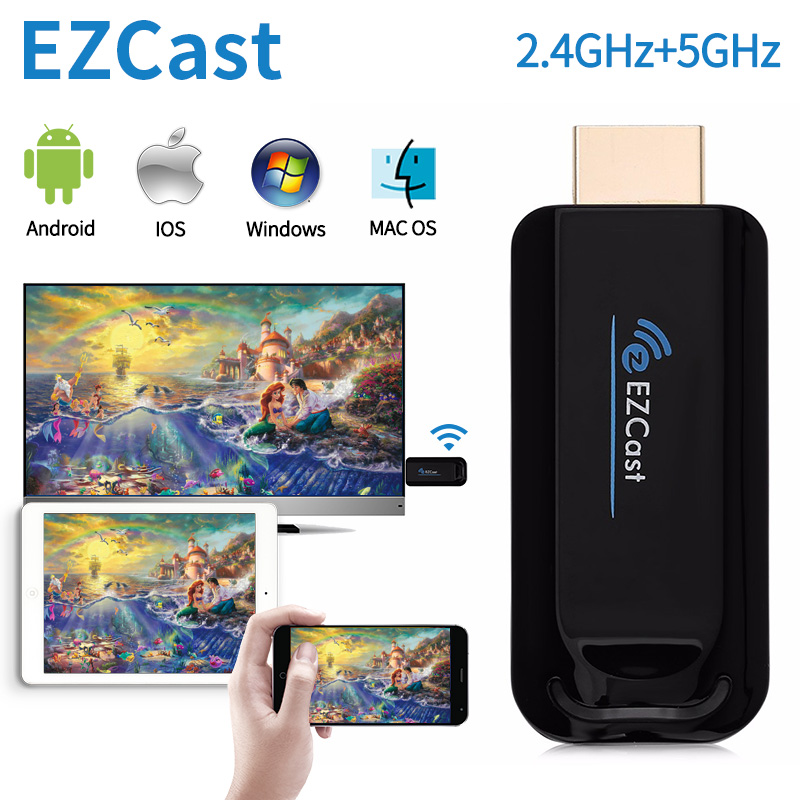Ezcast Wireless Display 2.4G/5.8Ghz For Android Iphone PC Wireless WiFi Display TV Dongle Receiver Mirroring HD TV Stick Airplay