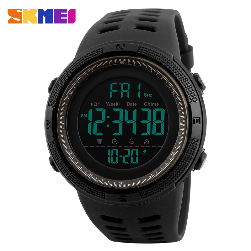 SKMEI Chronograph Sports Watches Men Double Time Countdown LED Digital Watch Military Waterproof Wristwatch Alarm Clock 1251 weide men sports watches waterproof military quartz digital watch alarm stopwatch dual time zones wristwatch relogios masculinos