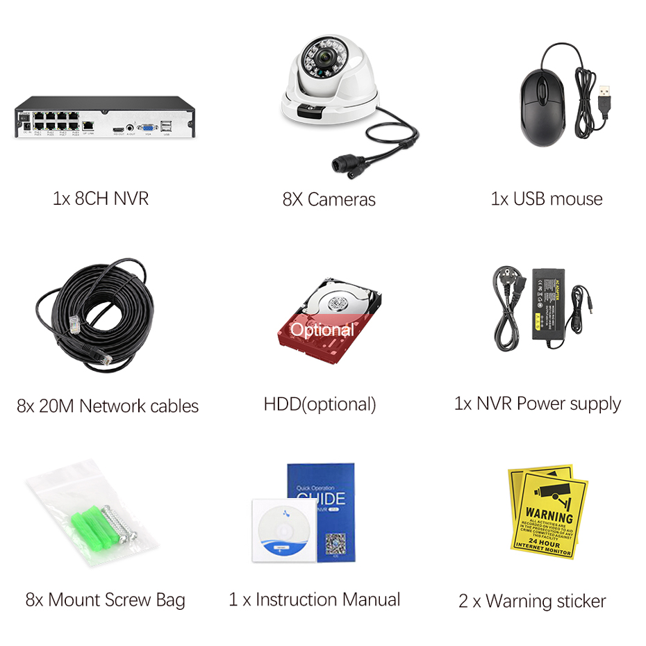Image 5 - Techege Full HD 1080P 8CH POE NVR Kit H.265 Camera System 8pcs IP Cameras Video Security Surveillance Kit Onvif Motion Detection-in Surveillance System from Security & Protection