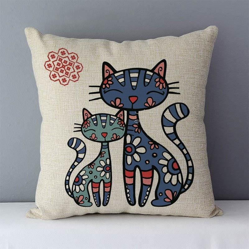 HTB19u9kXhrvK1RjSszeq6yObFXaR Selected Couch cushion Cartoon cat printed quality cotton linen home decorative pillows kids bedroom Decor pillowcase wholesale