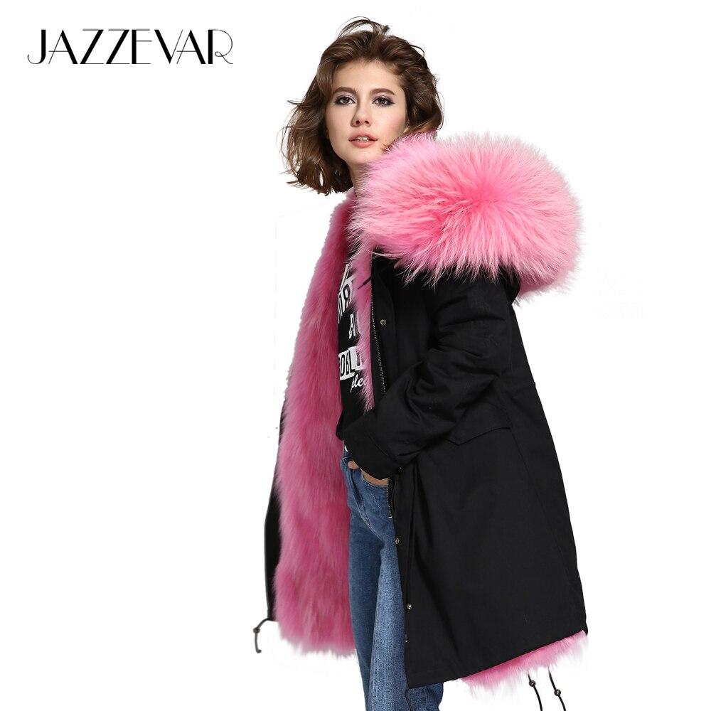 JAZZEVAR 2019 New coat woman luxurious Large raccoon fur collar hooded warm fur liner parkas long