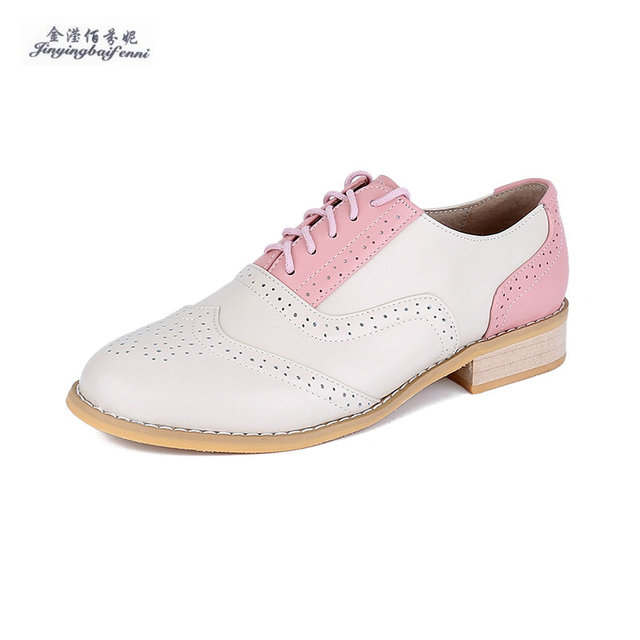 37c6936ec3c New Women s Genuine Leather Oxfords Lace-Up Vintage Single Leathe Shoe  Spring Autumn Casual Women Oxford Shoes Big Size 33-45