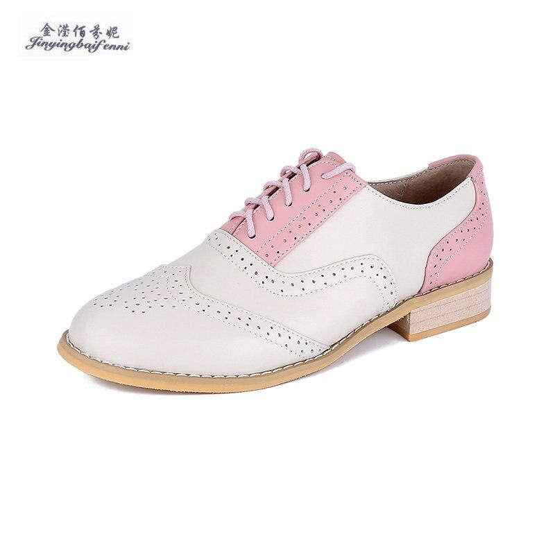 e540ee35c1af1c Simples brown Nude Femmes Shoes Véritable White pink Automne black Shoes  Chaussures Dentelle Green Shoes Nouveau ...