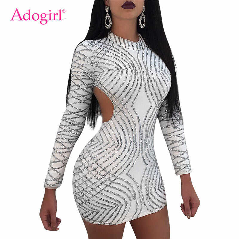 Adogirl женское сексуальное облегающее Клубное платье с блестками и круглым вырезом, с длинным рукавом, с открытой спиной, Бандажное мини-платье для вечеринок 2018, осенняя одежда