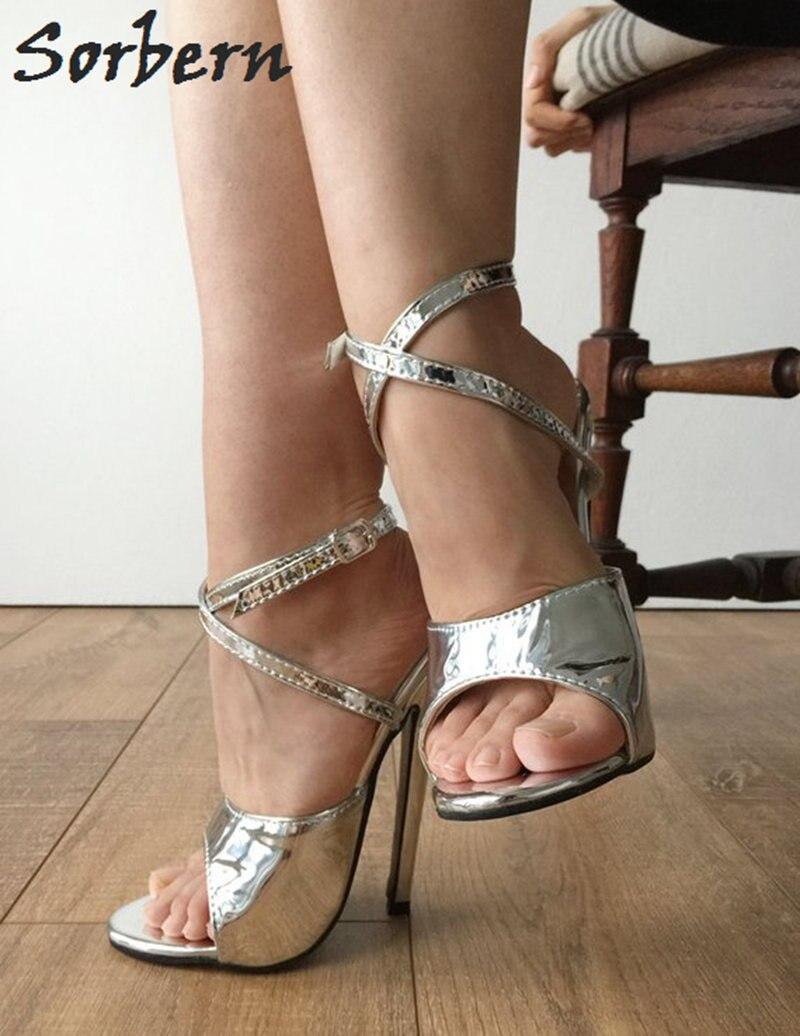 Sandale argent Style Sandal Sexy Cheville Argent Femmes Métallique 18  Sorbern Cm Sangle Fétiche Talons Stilettos Slingback D été Chaussures  Custom Hauts ... bb8ab0d8f5fc