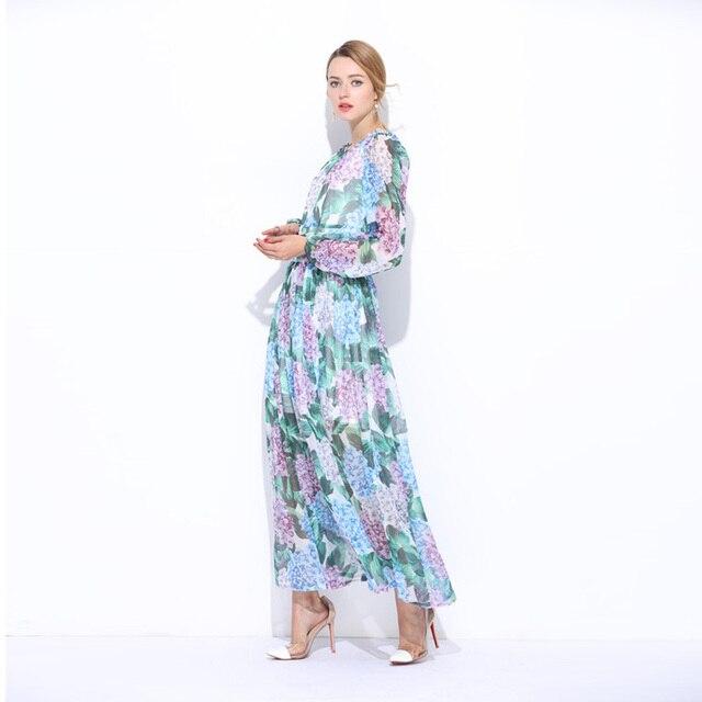Custom Plus Size Dress S 7XL 2017 Summer Newest O_Neck Hydrangea ...