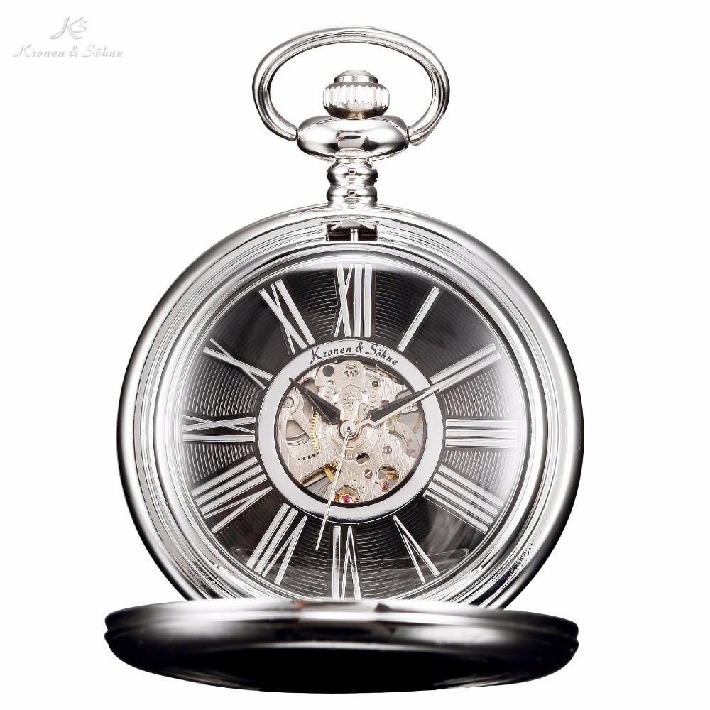 KS Retro Black Skeleton Roman Numbers Dial Silver Case Mechanical Hand Wind Male Clock Long Chain Men Pocket Fob Watch / KSP033