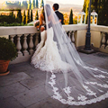 2015 New Real Photos White/Ivory Appliqued Mantilla velos de novia Wedding Veil Long With Comb Wedding Accessories wzy2003