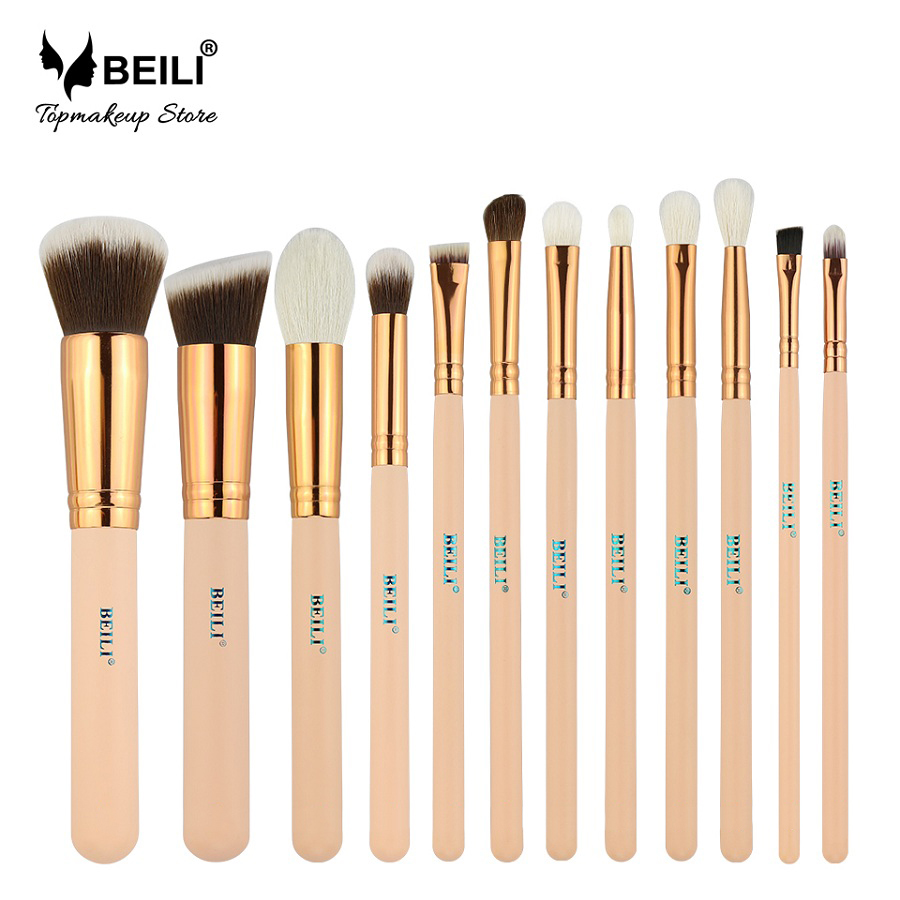 BEILI Pink Goat Hair Essential Foundation Eye shadow Blending Highlight Concealer 12pcs Makeup Brush Set rose golden ferrule beili 12 pieces black premium goat hair synthetic powder foundation blusher eye shadow concealer makeup brush set cosmetic bag