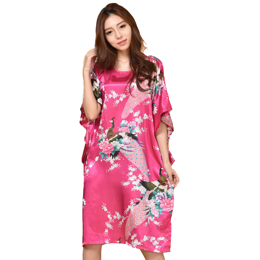 Rose Red Extra Large Butterfly Sleeves Women   Nightgown   Elegant   Sleepshirts   Hot Sale Female Silk Nightwear 0407