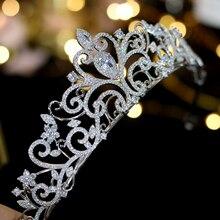 Tình Yêu cổ điển Châu Âu Zirconia Tiara nupcial vành Nhật hoa De Cristal chapado Đầm Vestido de novia con La novia accesorios Para EL cabello