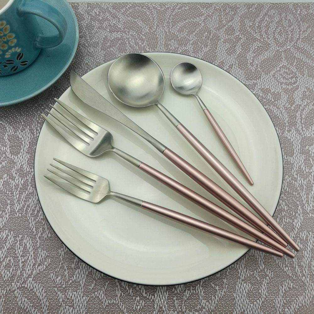 Juego de 5 cubiertos de acero inoxidable de estilo occidental, juego de vajilla de color rosa champán, tenedor para cena, juego de vajilla|Juegos de vajilla|   - AliExpress