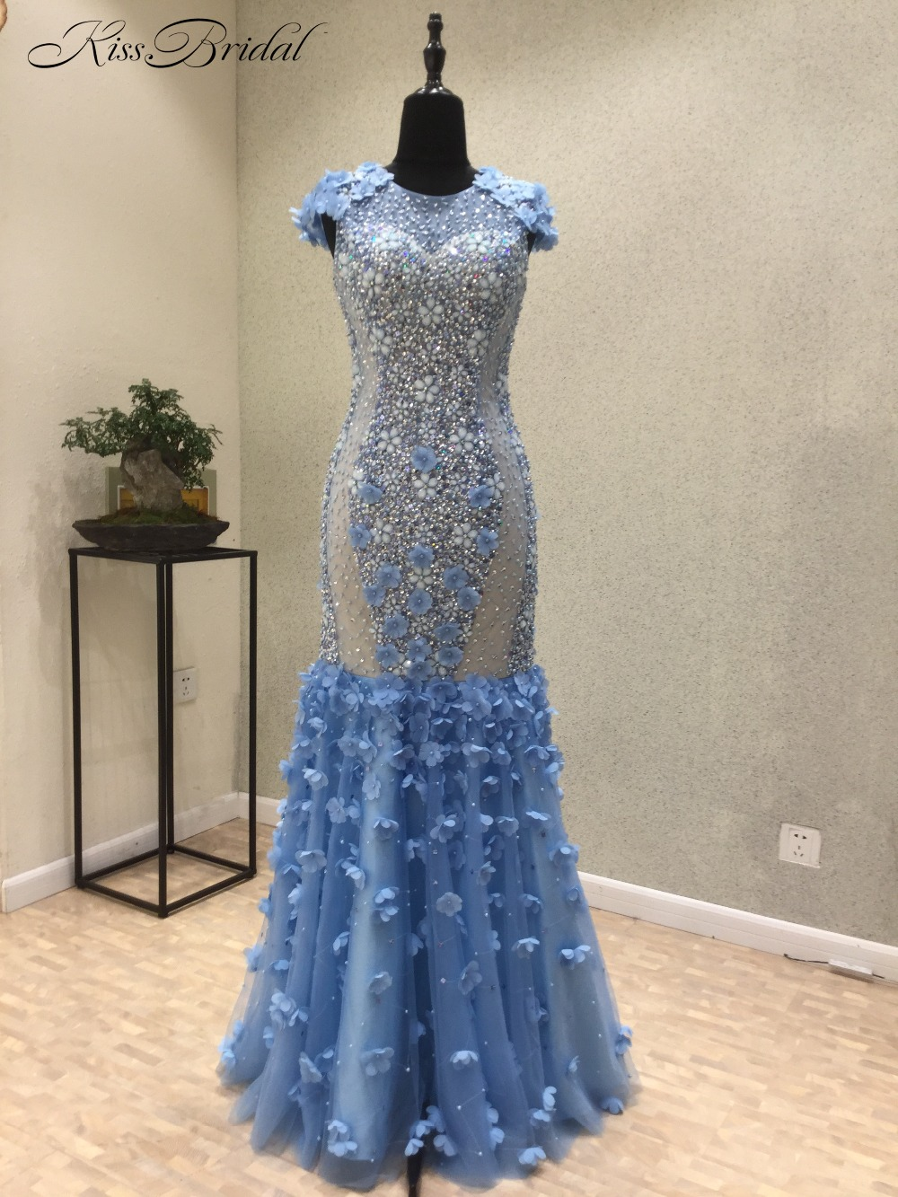 Vestido de noche New Amazing Long   Evening     Dress   2018 O-Neck Cap Sleeve Floor Length Beading Tulle Mermaid Prom   Dresses
