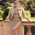 Traje De Más Tamaño Vestido de Oscuro Champagne Madre De La Vestidos de novia 2017 de La Rodilla-Longitud Con la Chaqueta de Encaje Bolas de Cristal Con arco