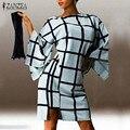 Zanzea mujeres más del tamaño 2017 otoño elegante a cuadros retro party dress ladies flare manga o cuello flojo ocasional de la cremallera de la espalda vestidos