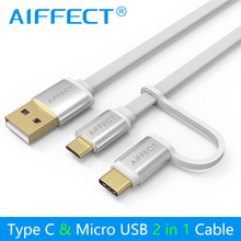 AIFFECT 2 Interfaces in 1 Micro B and Type C to USB Data Cable Charging Cable Mini USB C Cable for Micro USB Type-C Devices цена