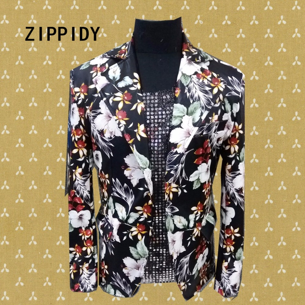 Multicolor Flowers Printed Floral Design Trendy Men Suit Jacket Nightclub Bar Dj Singer Prom Blazer Costumes Stage Slim Clothes
