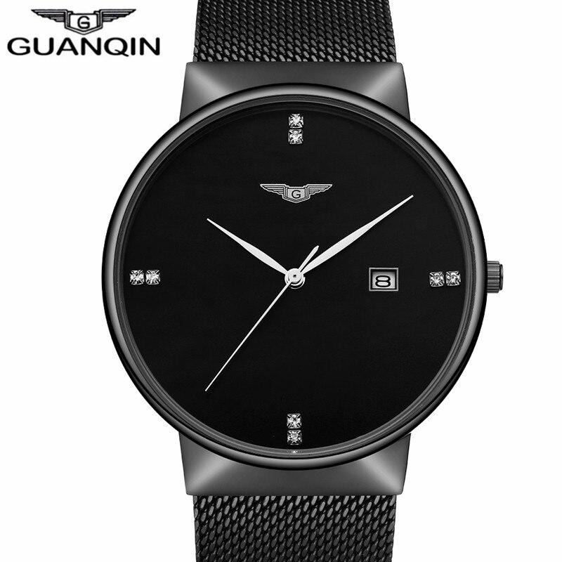 GUANQIN Luxury Brand Business Casual Black Stainless Steel Quartz Watch Men Fashion Calendar Waterproof Wristwatch Montre