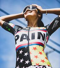 "Love the pain ""Rockstar Quilt Freemotion Womens cycling jersey set roupa ciclismo feminina bike shirt bib shorts triathlon suit"