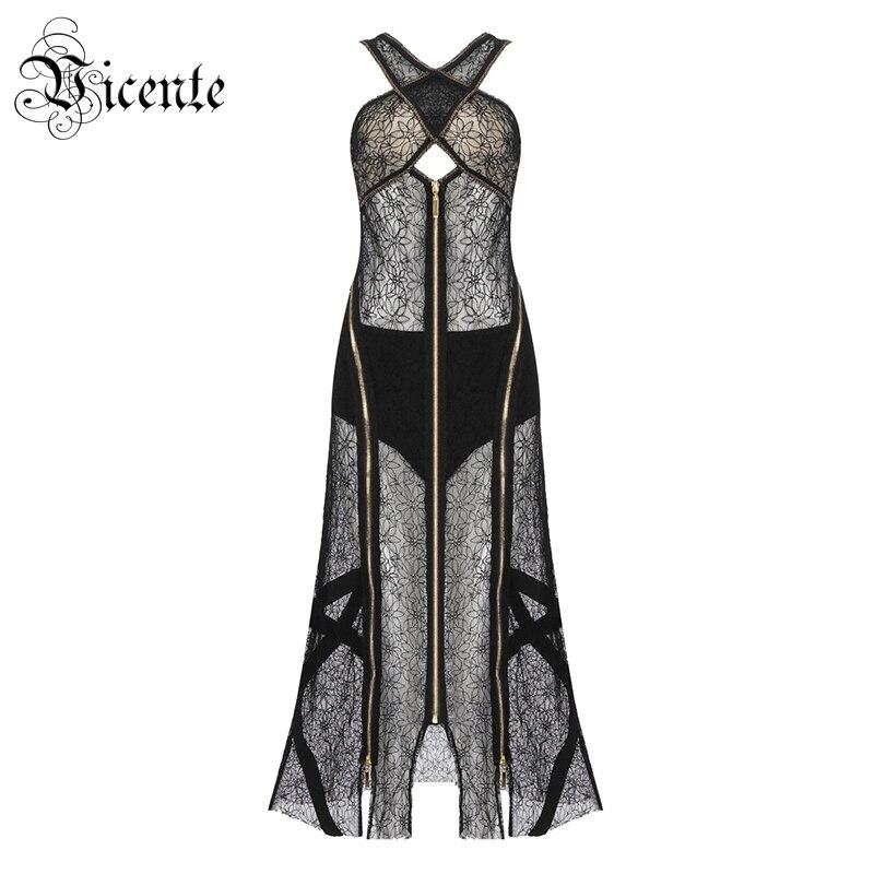Vicente горячий шик черное кружевное длинное платье передняя молния сексуальное без рукавов v образный вырез выдалбливают оптовая продажа бан