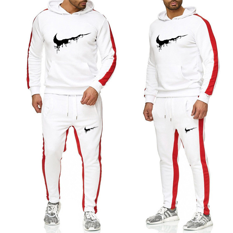 2019 Fashion Men's Fashion Leisure Sports Sweater Cotton Wool Hoodies Two-piece + Pants, Sports Leisure Fashion Suit Ski Suit Ru