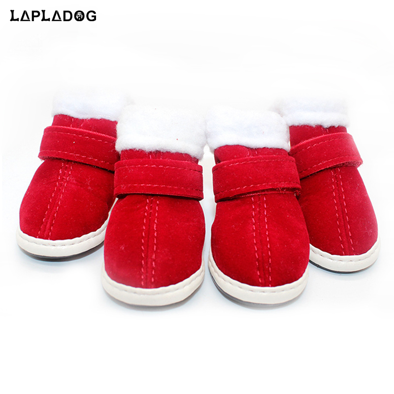 2018 Winter pet dog <font><b>shoes</b></font> <font><b>Buckskin</b></font> puppy Red Christmas Boots chihuahua Protective Boot Small Dogs Soft Slip-resistant Sneakers image