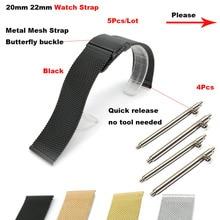 Amazfit Correa de Metal Correa de reloj 20mm 22mm para Xiaomi Huami Amazfit ritmo Bip Stratos 2 pulsera de muñeca banda samsung Gear S4 S3 S2