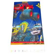 1 pièces joyeux anniversaire fête décoration bébé douche Blaze monstre Machines en plastique Table couverture cartes enfants garçons faveurs nappe
