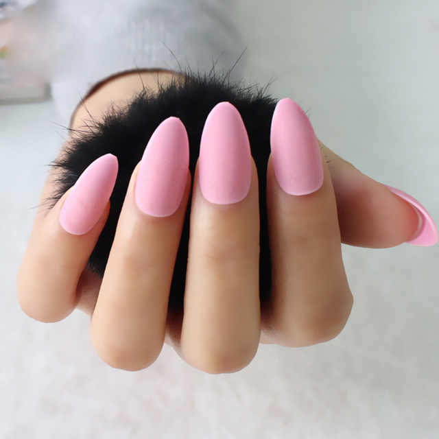 24pcs Set Stiletto Matte Nail Tips Rose Pink Press On Artificial Fake Nails Full Cover
