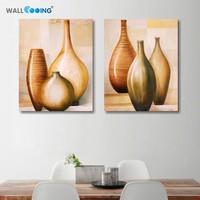 2 painéis de lona ainda vida pintura flor oli pinturas parede moderna arte da parede vaso ilustrações modulares quadros em tela