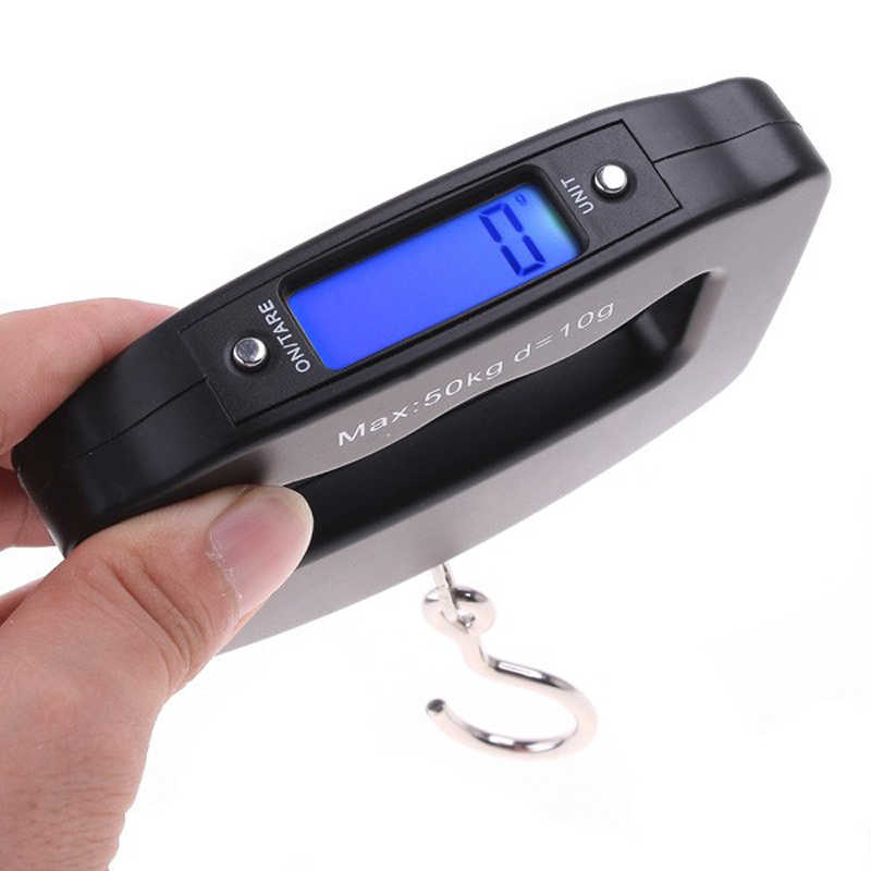 50kg x 10g Portable Travel Luggage Scale Weighs Suitcase Bag Electronic Digital Hanging Hook Fishing Scale Balance Weight LCD