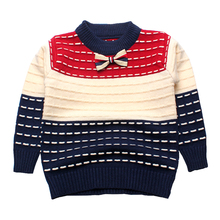 Boy Sweaters Striped Cotton Top Warm Tie Boys Sweater Knitting Kids Clothes Crochet Pullover Children Autumn Winter Infant Tee