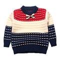 Blusas menino Listrado de Algodão Top Quente Gravata Meninos Suéter De Tricô Roupa Dos Miúdos Crochet Pullover Outono Inverno Crianças Infantil Tee