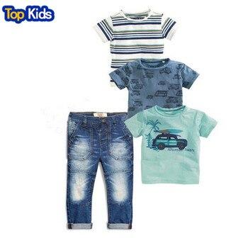 2020 Summer Children sets baby clothes boys 4 pcs set striped suit  t-shirts + blue t-shirt car + T-shirt + denim jeans CCS352 1