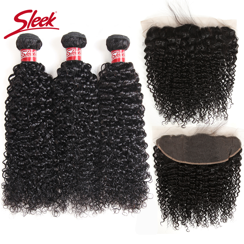 Sleek Malaysian Curly Human Hair Weave Bundles With Frontal Free Part Non Remy Closure Human Hair Frontal With Bundles 4pcs/Lot