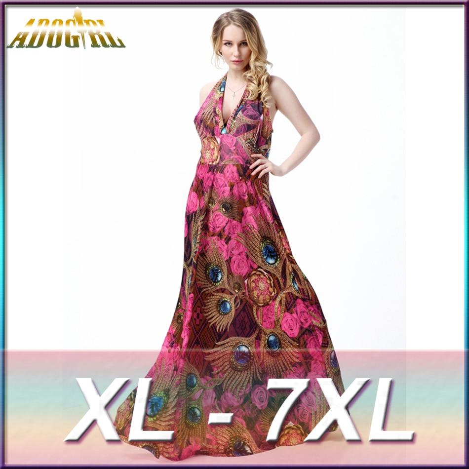 b146a2c85b4 Adogirl Plus Size 3XL 4XL 5XL 6XL 7XL For Women Beach Dress Boho V Neck Ice  silk Flower Print Casual Long Maxi Dresses Vestidos-in Dresses from Women s  ...