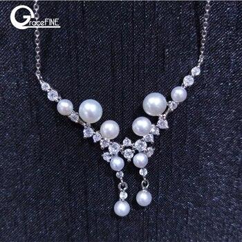 4eca27e9030d 925 Zircon Crystal collar 4-6mm verdadera perla Natural de agua dulce  mariposa collar de perlas de la joyería para las mujeres regalos