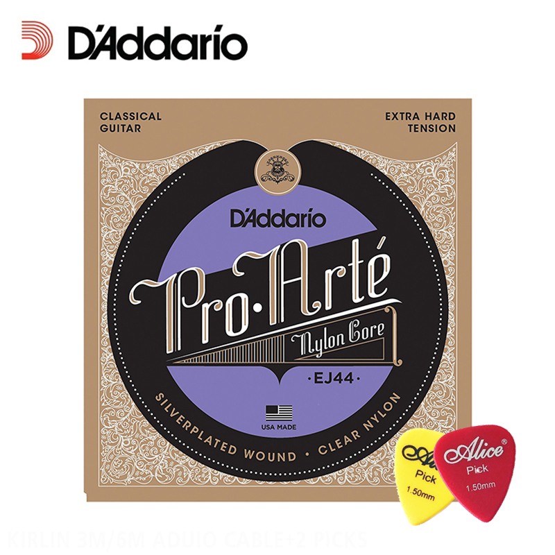 D'Addario EJ44 Pro-Arte Nylon Classical Guitar Strings, Extra Hard Tension, .029-.045 Daddario Guitar Strings (With 2pcs picks) olympia brand classical guitar string 1 set 6 strings high quality clear nylon strings normal or hard tension original