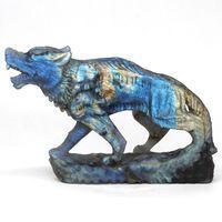 6.14 Wolf Statue Natural Gems Labradorite Crystal Carved Figurine Craft Home Decor