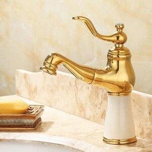 Гибкий Выдвижной кран для раковины, Золотой полированный мраморный камень, Роскошный кухонный смеситель для раковины, кран для ванной комн...