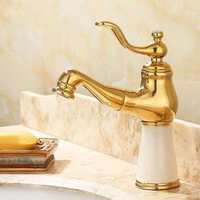 Basin Flexible Pull Out Faucet Golden Polish Marble Stone Luxury Kitchen Sink Mixer Faucet Bathroom Gold Faucets
