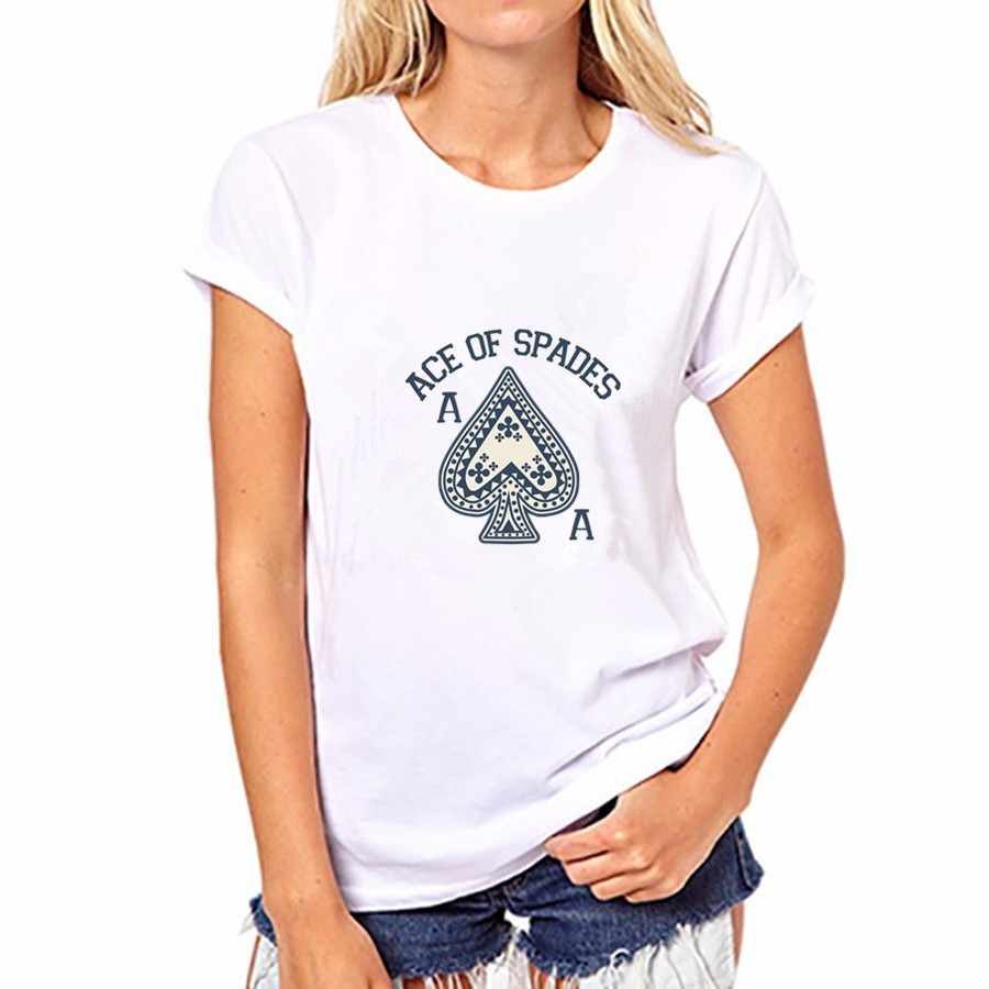 2016 Women Cotton T-shirt Casual ACE of spades Print 20 Colors Short Sleeved Round Neck Women Top Shirt FS40-WT-YH85