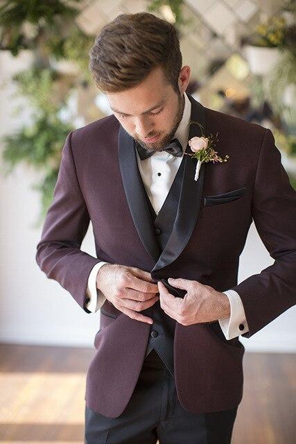 2018 nouveau Costume homme vin rouge Terno Masculino Slim Fit hommes hommes costumes de mariage Tuxedos costumes pour hommes (veste + pantalon + gilet)