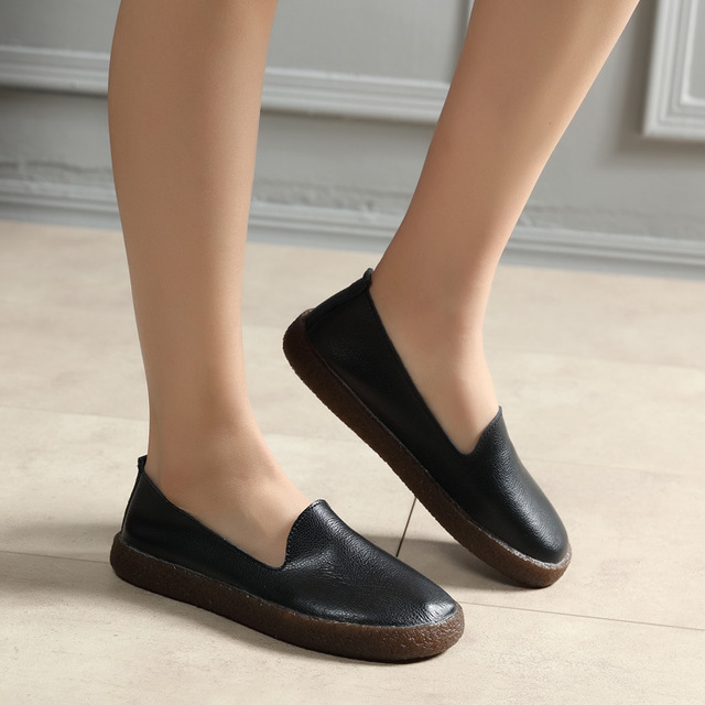 e2c2ccda835 Women Casual Leather Loafers Lady Black Flat Shoes Female Fashion Work  Footwear