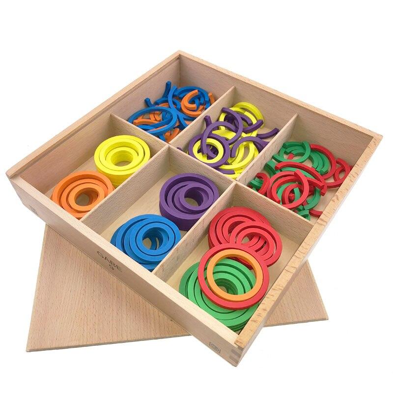 Bébé Frobel Gabe9 aides pédagogiques jouets coloré courbe cercle d'apprentissage jouets en bois pour enfants préscolaire éducatif précoce unisexe