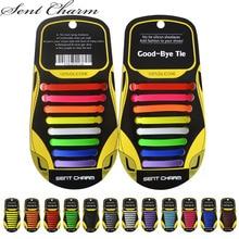 SENTCHARM 10Sets/Pack Adult Lazy Elastic No Tie Shoelaces Creative Silicone Shoe Laces For Sneakers Canvas Shoes