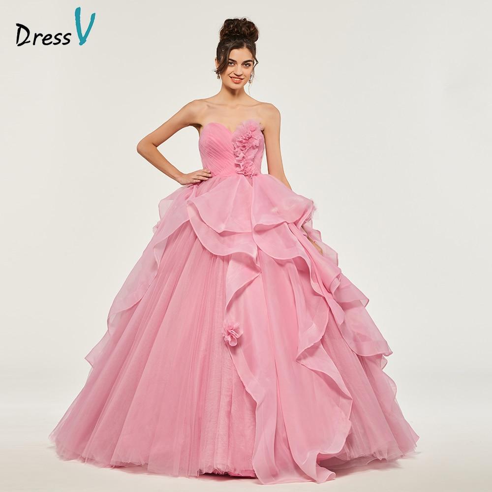 Orange Pink Beads Quinceaners Dresses Dance Dress vestidos de 15 ...