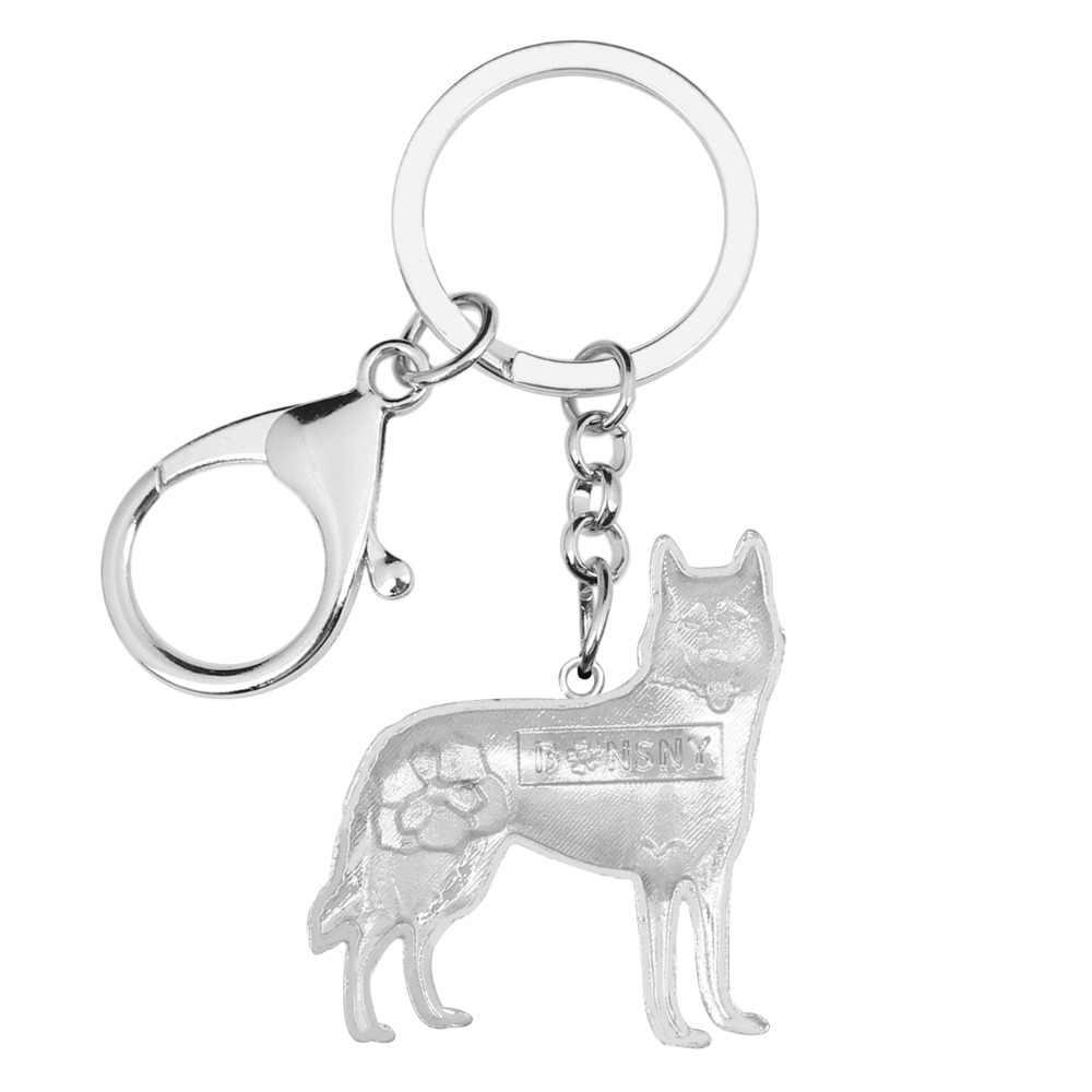 WEVENI Men Siberian Husky Dog Key Chain Sibirskiy Haski Key Ring Đồ Trang Sức Cho Phụ Nữ Bag Charm Keychain Phụ Kiện Đồ Lưu Niệm