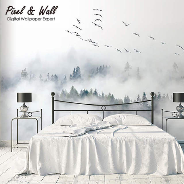 0329c5e32063 Birds flew over the trees in the mist forest wall mural with home  decoration accessories for bedrooms nature wallpaper STDM30347